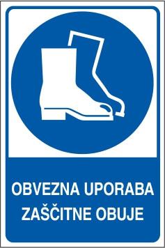Obvezna uporaba zaščitne obuje