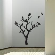 Stenska nalepka Ptice na drevesu G0365