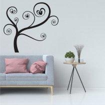 Stenska nalepka Drevo s srčki G0435