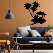 Stenska nalepka Otok s palmami L0130