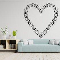 Stenska nalepka Srce sestavljeno iz glasbenih not O0067