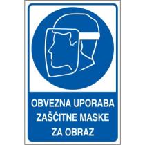 Obvezna uporaba zaščitne maske za obraz