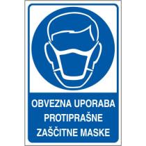 Obvezna uporaba protiprašne zaščitne maske