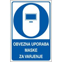 Obvezna uporaba maske za varjenje