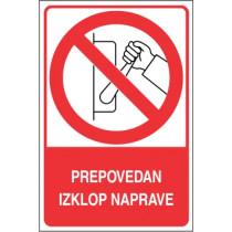 Prepovedan izklop naprave