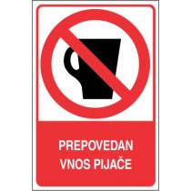 Prepovedan vnos pijače