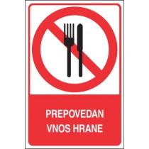 Prepovedan vnos hrane