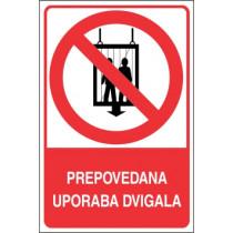 Prepovedana uporaba dvigala