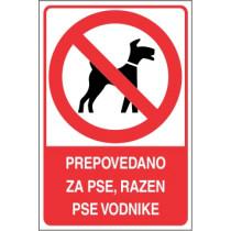 Prepovedano za pse, razen pse vodnike