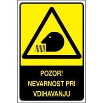 Pozor! Nevarnost pri vdihavanju